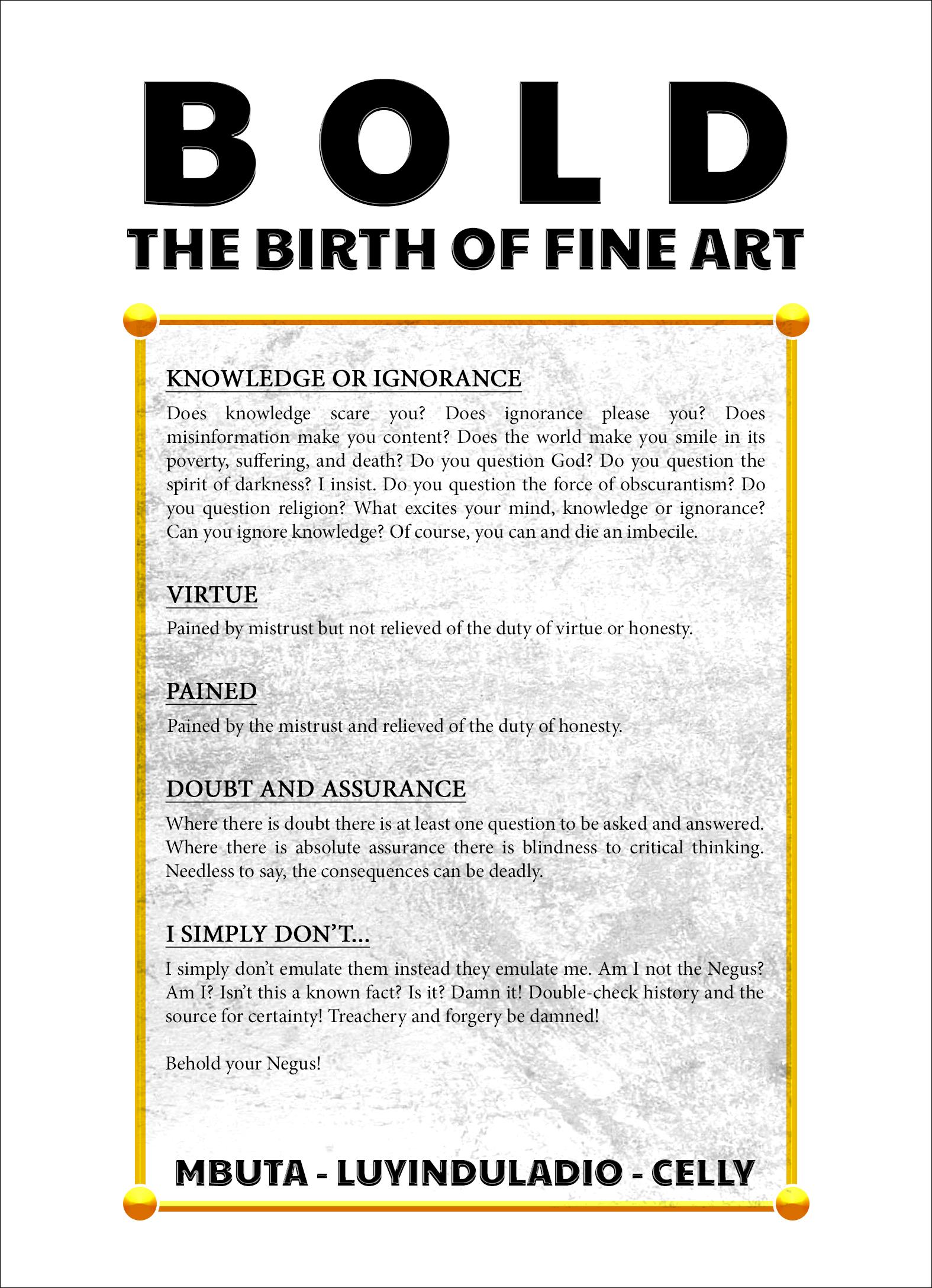 Bold The Birth Of Fine Art