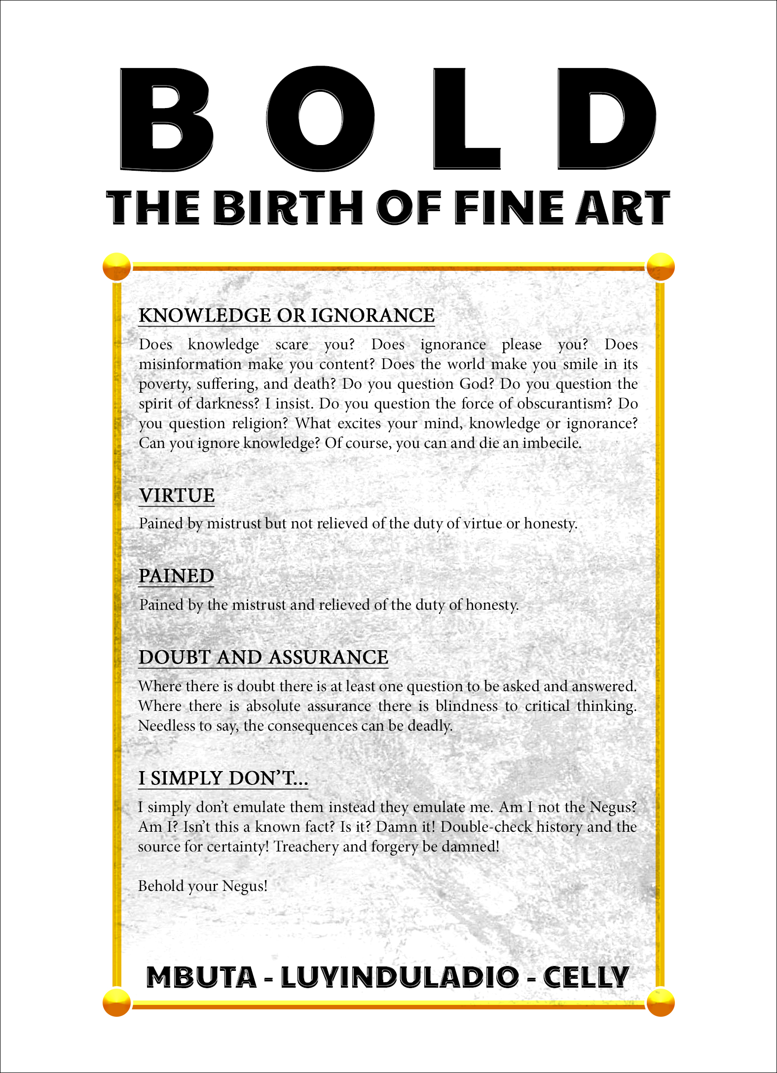 Bold The Birth Of Fine Art